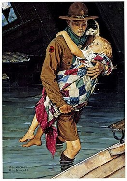 Norman Rockwell's painting of a Scout rescuing a child from a flood