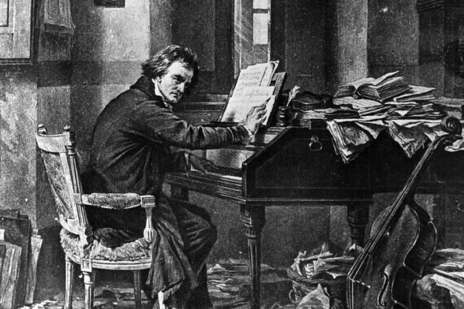 Illustration of Beethoven composing