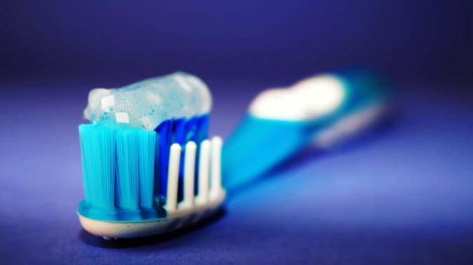 Close-up of toothbrush with toothpaste