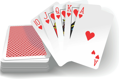 A deck of cards, holding up a Royal Flush of Hearts