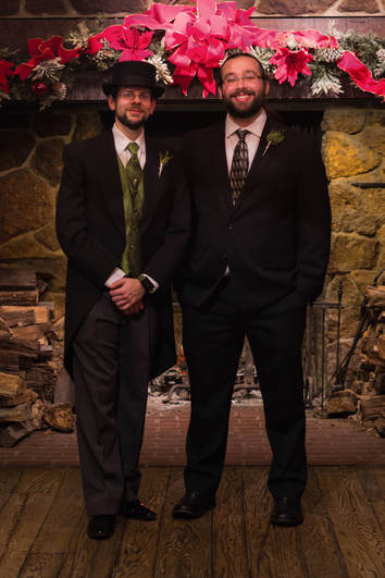 The author and Andrew as groom and dude of honor at the authors wedding.