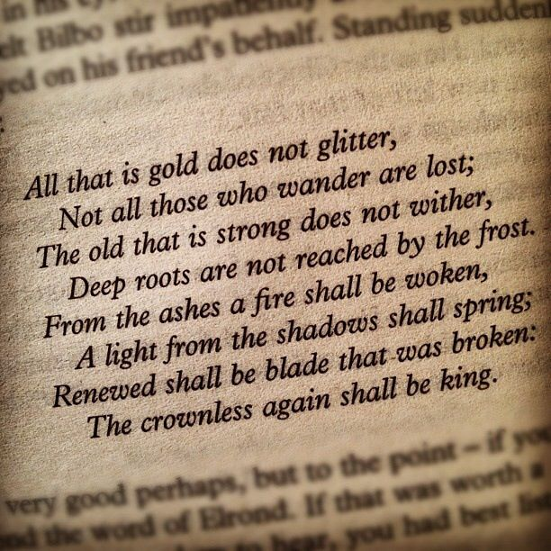 A close zoom of the text from Fellowship of the Ring, depicting the poem