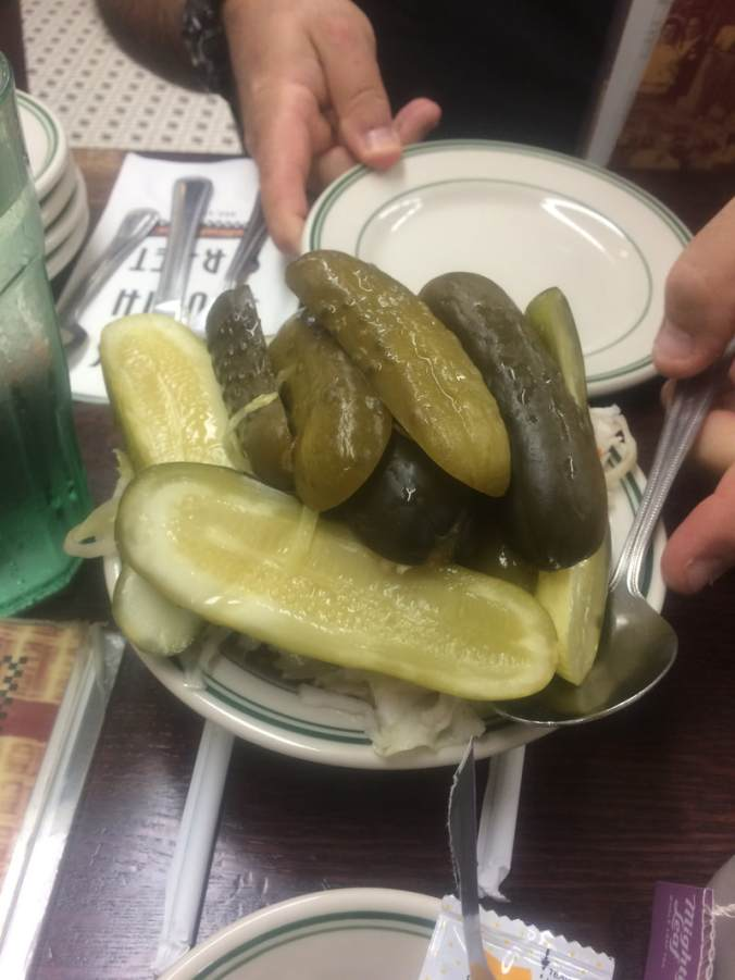 A plate of pickles at Famous 4th St. Deli