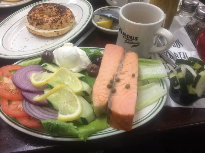 The Kippered Lox Platter with Onion Bagel and Tea
