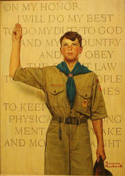 Norman Rockwell painting of a Scout holding up the Scout sign in front of the Scout Oath