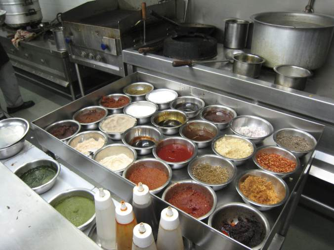 Mise-en-place for a professional kitchen