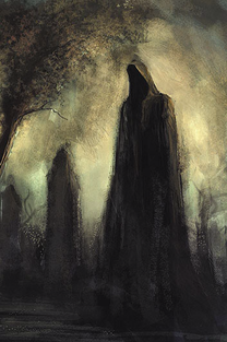 An impressionist-style illustration of a tall, hooded figure by a gravestone.