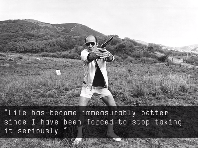 PictureHunter S. Thompson pointing a gun. Caption reads