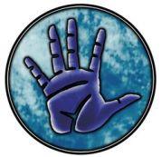 A blue palm in a blue circle- the symbol of Irori