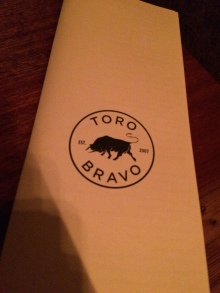 The menu at Toro Bravo