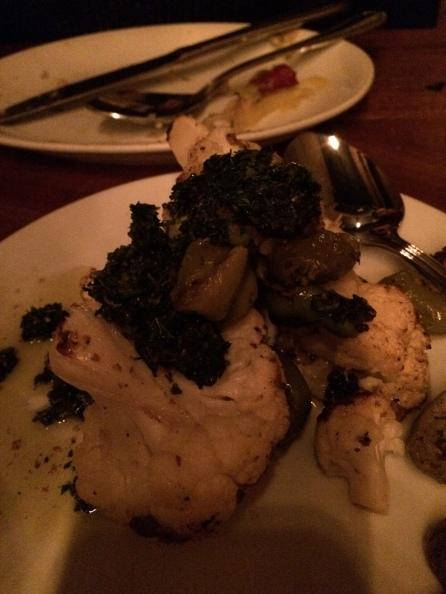 Toro Bravo's Roasted Cauliflower with Cracked Olives and Salsa Verde