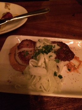 Seared Scallops and Fennel over Romesco- back on track.