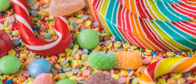 Close-up on a selection of brightly-colored candy