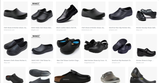 Google Search Results for kitchen shoes