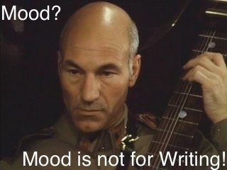"Patrick Stewart as Gurney Halleck in ""Dune."" Caption: ""Mood? Mood is not for writing!"""