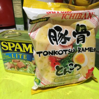 A close-up of Tonkatsu Ramen and Spam Lite
