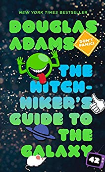 Cover of The Hitchhikers Guide to the Galaxy by Douglas Adams.