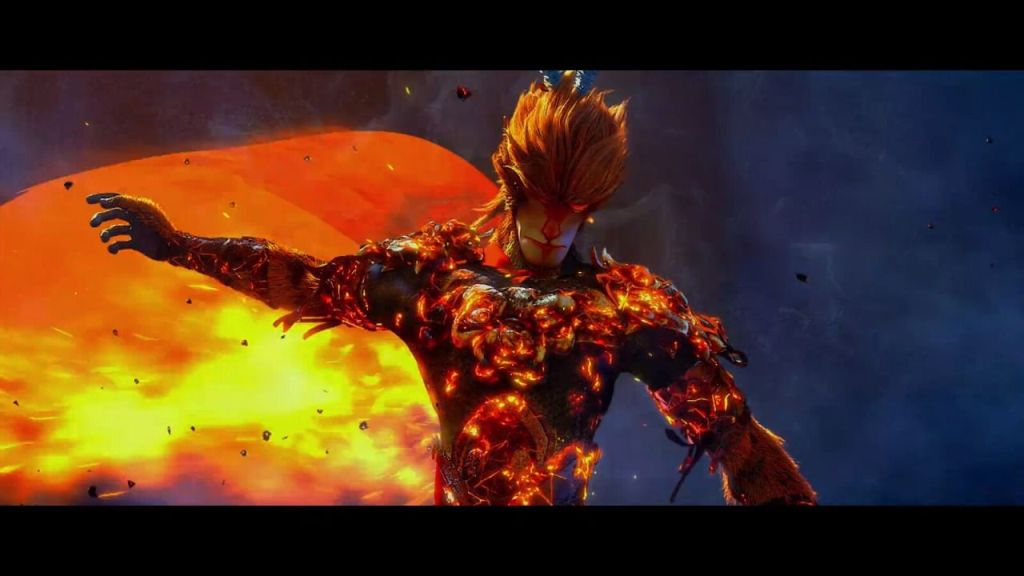 "Frame from ""Monkey King: Hero is Back"" depicting Sun Wukong putting on his cape and armor in a blaze of fire."