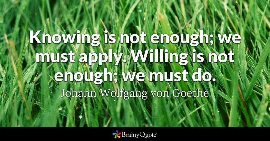 "BrainyQuote frame: close-up of grass with the caption ""Knowing is not enough, we must apply. Willing is not enough, we must do."" - Johann Wolfgang von Goethe"