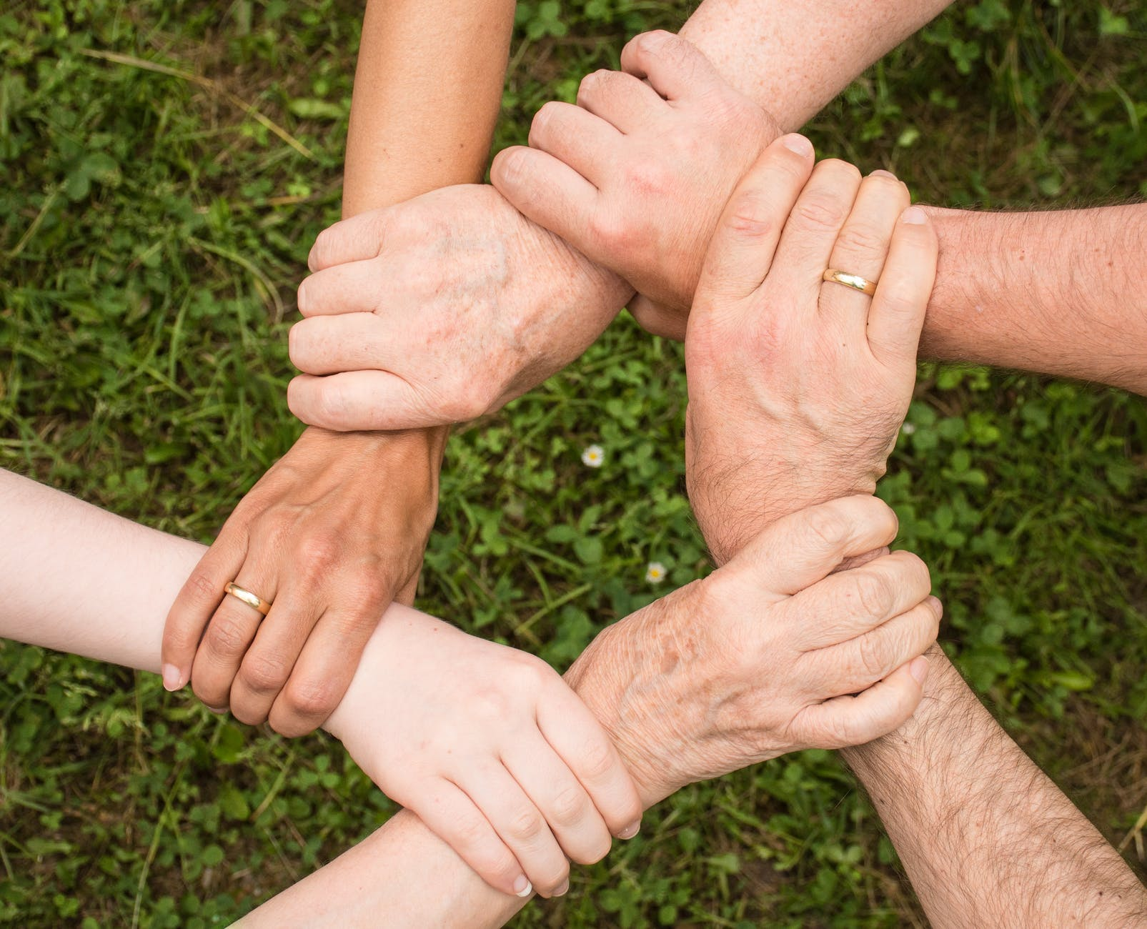 Five peoples hand grabbing each others wrists in support